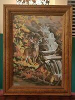 Vintage 1970s Whitetail Deer Painting Canvas on Board w/ Carved Wooden Frame