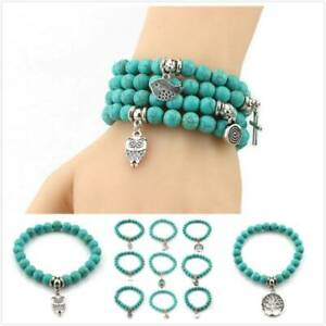 Pulseira Feminina Bohe Bracelet Valentine Gift Owl Turquoises Stone Bracelets AA