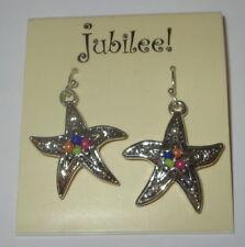 Star Fish Earrings Pierced Silver Tone Beaded Blue Orange Pink Jubilee New Beach