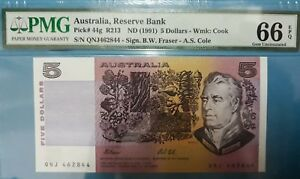 1991 Australia $5 PMG66 EPQ <P-44g> GEM UNC