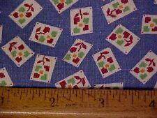 Vintage Feedsack w/ Postage Stamp Flowers on Blue Background