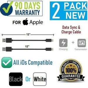 """2-pack 12"""" 1FT Short USB cable for iPhone SE,6,7,8,X,XR,XS,11,11Pro,11 Pro Max"""