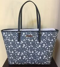 NEW! Michael Kors Navy Blue & White Floral Saffiano Leather Large Tote
