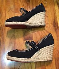 Christian Louboutin Espadrilles Wedge Shoes 40 Heels Platform Mary Jane Canvas