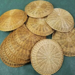 Vintage Paper Plate Holders Wicker Bamboo Rattan Lot of 12 Retro Picnic Brown