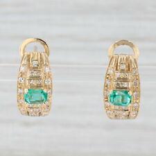 0.96ctw Emerald Diamond Drop Earrings 18k Yellow Gold Pierced Omega Backs