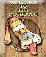 """10"""" x 8"""" WELCOME TO THE DOGHOUSE SON HUSBAND PARTNER METAL PLAQUE TIN SIGN 541"""