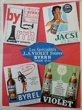 PUBLICITÉ DE PRESSE 1958 BYRRH JACSI BYREL VIOLET SPÉCIALITÉS VIOLET FRÈRES