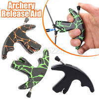 Archery 3 Finger Bow Release Aids Caliper Thumb Trigger Grip Compound Bow US