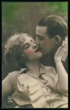 Couple love romance lady man original 1920s Art Deco tinted photo postcard c04