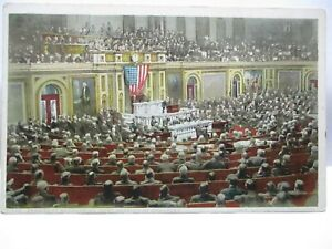 """1910 PHOSTINT #71926 POSTCARD """" PRESIDENT ADDRESSING JOINT SESSION OF CONGRESS """""""