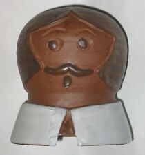 Vintage Primitive Amish Pilgrim Cookie Jar Lid ONLY Glazed Unglazed Clay Pottery