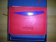 Melbury Red Leather with Blue Silk with Red and Yellow Stripe  Slim Card Case