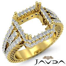Prong Diamond Engagement Ring Princess Semi Mount VS1-VS2 18k Yellow Gold 2.5Ct