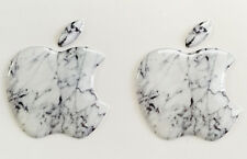 2x3D Domed White Marble Apple logo stickers for iPhone,iPad cover. Size 35x30mm