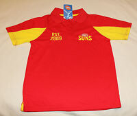 Gold Coast Suns AFL Boys Red Yellow Short Sleeve Printed Polo Shirt Size 14 New