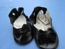 "Madame Alexander Doll Shoes Black Oilcloth Rare Original 1940's 18"" Doll Vintage"