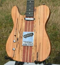 LINKSHÄNDER WELLER TELEMATIK, MASSIV SPALTED MAPLE + MAHAGONI, NECK THRU, GROVER
