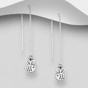 925 Sterling Silver Bumble Bee Thread Through Earrings Threader Women Animals