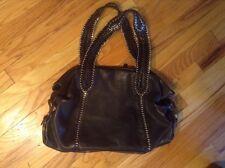 Authentic Junior Drake Designer Black Leather Gold Chain / Grommet Handbag EUC!