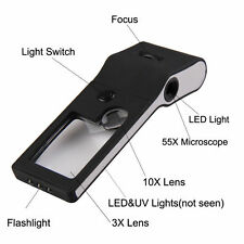 6 in 1 LED Pocket Magnifier 3X 10X magnifier 55X Microscope and UV Light Black