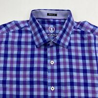 Bugatchi Uomo Button Up Shirt Men's XL Short Sleeve Multi-Check Cotton Casual