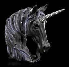 Einhorn Figur Büste - Midnight groß schwarz - Deko Fantasy Magie Pferd