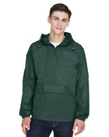 UltraClub Adult Quarter-Zip Hooded Pullover Pack-Away Jacket 100% Nylon 8925
