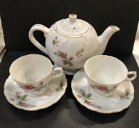 OCCUPIED JAPAN  ALADDIN FINE CHINA MOSS ROSE GOLD TRIMMED Teapot, 2CUPS & SAUCER