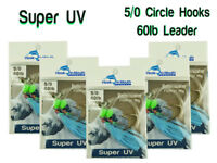 5 Super UV Blue Snapper Rigs Fishing Rig Paternoster 60lb Leader 5/0 Circle Hook