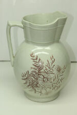 Large Antique Water Pitcher Flower Handle Vase Pale Off White Floral Pattern
