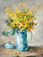 LMOP904 A bunch of small yellow flowers hand painted art oil painting on canvas