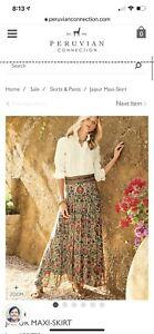 Peruvian Connection Bohemian Hippie Jaipur Multicolor Floral Maxi Skirt Sz 14 US