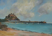 Impressionist Oil Painting of Gorey Castle Jersey Illegible Signature 1960's
