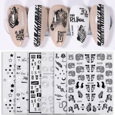 3D Nail Stickers Leopard Letter Nail Art Decal Paper Decoration Tips Black White