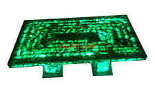 """4'x2' Green Agate Dining Table Top With Two 18"""" Stands LED Light Furniture A005"""