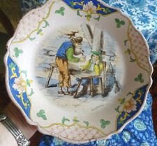 French Early 19th Century Stoneware Faience Plate GB. C1810 D Teniers Signed