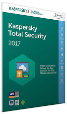 Kaspersky Total Security 2017 5 PC / Geräte 1Jahr Vollversion Key / Antivirus