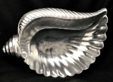 RARE HTF India Handicrafts Seashell Centerpiece Bowl Silver Metal Metalware