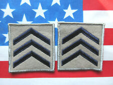 SERGEANT MILITARY SECURITY OFFICER RANK STRIPES PATCHES (BLUE / GREY)