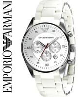 EMPORIO ARMANI AR5859 MENS WHITE CHRONOGRAPH WATCH - BRAND NEW IN BOX WITH TAGS