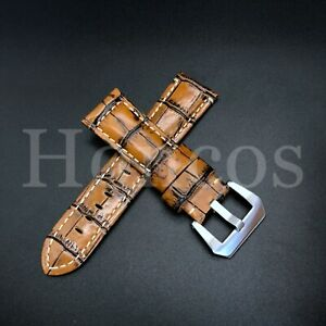 22-26MM Brown Leather Alligator Watch Band Strap Panerai Submersible 47MM