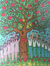"James Rizzi: original Farblithografie ""THE APPLE DOESN'T FALL..."", gerahmt, 2001"