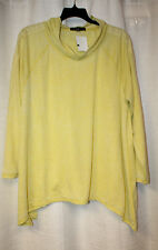 NEW FRENCH LAUNDRY WOMENS PLUS SIZE 3X YELLOW HIGH LOW CROCHET TRIM HOODIE TOP