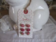 carte de 6 boutons en tissu liberty fleurs et pois Clayre & eef couture NEUF