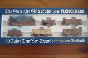 Fleischmann 4889 H0 80 Jahre Deutcher Staatsbahnwagen -Verband 6 pc set