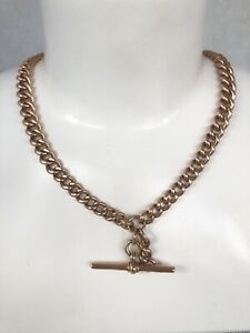 """Antique 9ct Rose Gold Graduated Albert Link T Bar Curb Chain Necklace  16"""""""