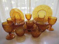 Tiara Indiana Glass Amber Sandwich Plates, Goblets, 9 oz Cups 20 piece Set