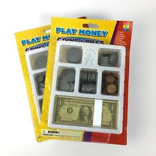 2 Educational Insights Play Money Coins Bills Tray Math Counting Change B27-11