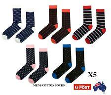 Mens Bright Business Socks Crew Work Dress Wedding Socks 5 Pack Size 40-46